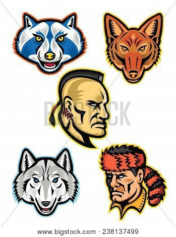 Mascot Icon Illustration Set Of Heads Of American Wildlife And Folklore Heroes Like The Artic Wolf,