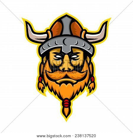 Mascot Icon Illustration Of Head Of A Viking Warrior Or Norse Seafarer Viewed From Front On Isolated
