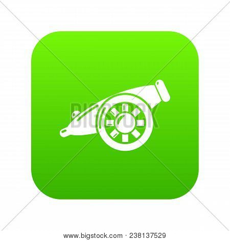 Artillery Cannon Icon Green Vector Isolated On White Background