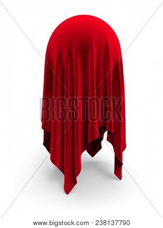 Spherical object covered with red velvet drapery isolated on white background. 3D rendering.