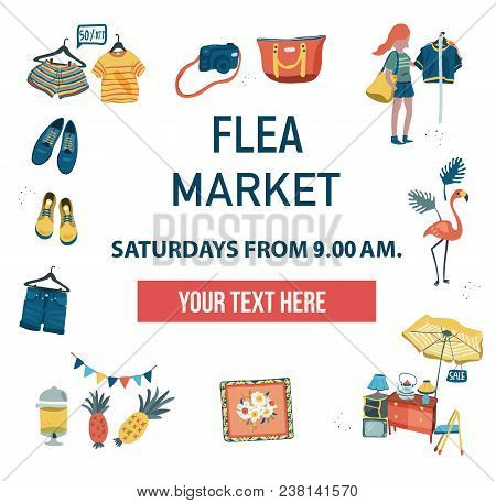 The Invitation Poster To Visit The Market Fair Like Flea Market, Weekend Market, Or Night Market, Ca