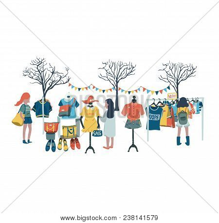 Women Shopping In The Clothes Shop At Flea Market Or Market Fair, All In Colorful Doodle Cartoon Fla