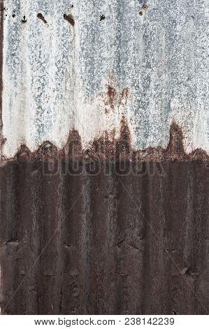 Rusty corrugated metal wall ,rusty Zinc grunge style background poster