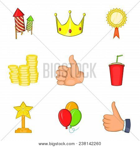 Win Payment Icons Set. Cartoon Set Of 9 Win Payment Vector Icons For Web Isolated On White Backgroun