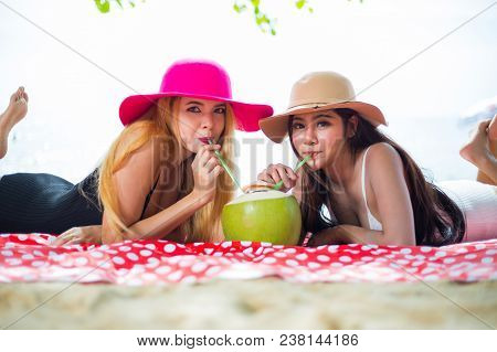 Couple Friends, Asian Women Happy On The Beach During At Summer Vacations; Summer Holidays, Travel,