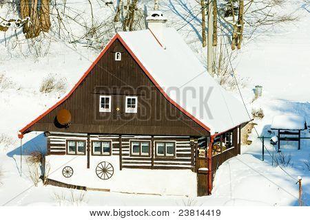cottage in winter, Bartosovice in Orlicke Mountains, Czech Republic