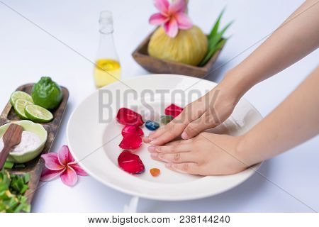 Spa Treatment And Product For Hand Spa With White Background; Select And Soft Focu