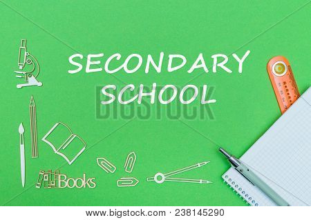 Concept School, Text Secondary School, School Supplies Wooden Miniatures, Notebook With Ruler And Pe
