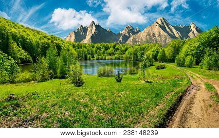 Composite Summer Landscape. Trees On The Shore Of A Clear Lake At The Foot Of Epic High Tatra Mounta