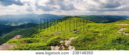 Panorama Of Great Carpathian Water Dividing Ridge. Beautiful Summer Landscape View Of Lviv And Trans