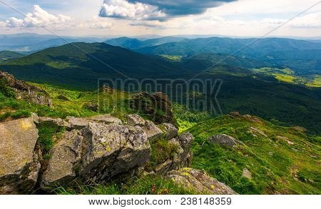 Path To A Tiger Face Cliff Above The Valley. Spectacular Landscape Of Carpathian Mountains In Summer
