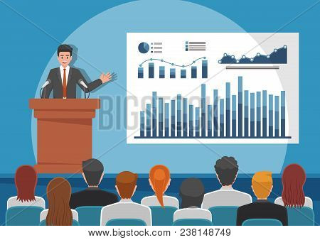 Businessmen Giving Speech Or Presenting Charts On A Whiteboard In Meeting Room. Business Seminar And