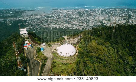 Puerto Plata, Dominican Republic. The Giant Statue Of Christ The Redeemer On Pico Isabel De Torres.