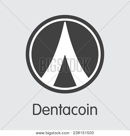 Dentacoin Vector Coin Illustration For Internet Money. Cryptographic Currency Element Of Dcn And Coi
