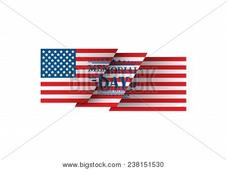 Happy Memorial Day. Home Of The Brave. Hand Lettering Greeting Card With Textured Handcrafted Letter