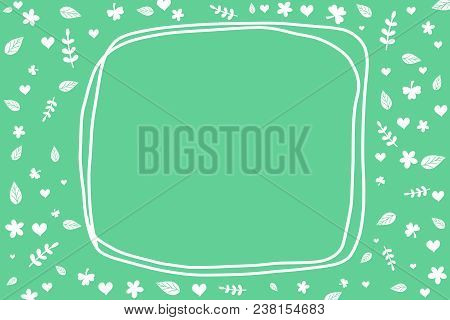 Cute white botanicals leaf and heart pattern on pastel green background. Green wallpaper with copy space or frame for fill your text. Abstract style by doodle art hand drawing illustration of botanicals concept. Environment and plants concept. poster