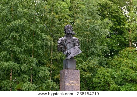Russia, Saint Petersburg - August 18, 2017: The Monument To Ivan Aivazovsky, Kronshtadt