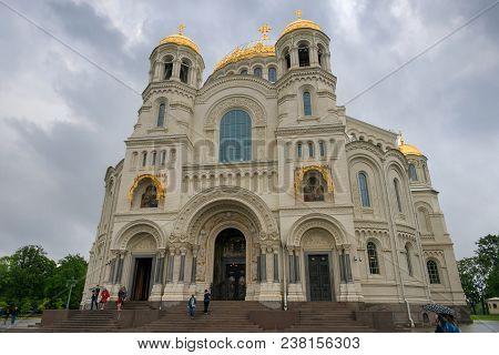 Kronstadt, Saint Petersburg, Russia - August 21, 2017:naval Cathedral Of St. Nicholas