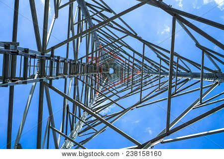 Telephone Pole Technology Mobile Telephone Network Base Station Telecommunication Tower On Blue Sky
