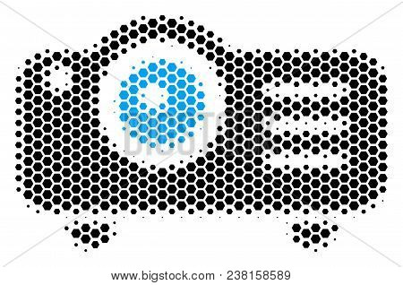 Halftone Hexagonal Projector Icon. Pictogram On A White Background. Vector Composition Of Projector