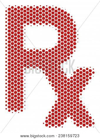 Halftone Hexagon Rx Symbol Icon. Pictogram On A White Background. Vector Collage Of Rx Symbol Icon C