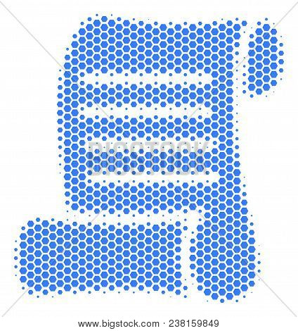 Halftone Hexagon Script Roll Icon. Pictogram On A White Background. Vector Mosaic Of Script Roll Ico