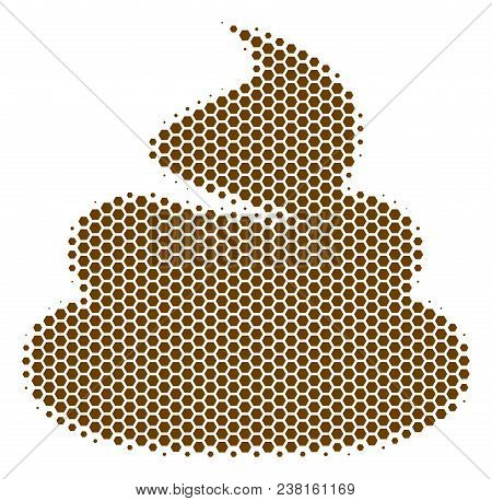 Halftone Hexagonal Shit Icon. Pictogram On A White Background. Vector Concept Of Shit Icon Composed