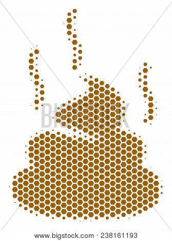 Halftone Hexagon Shit Smell Icon. Pictogram On A White Background. Vector Concept Of Shit Smell Icon