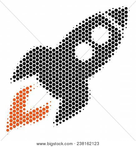 Halftone Hexagon Space Rocket Launch Icon. Pictogram On A White Background. Vector Composition Of Sp