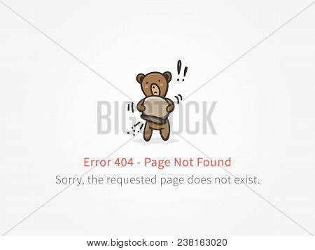Error 404 Page With Little Bear With Empty Honey Pot Vector Design. Website 404 Page Creative Concep