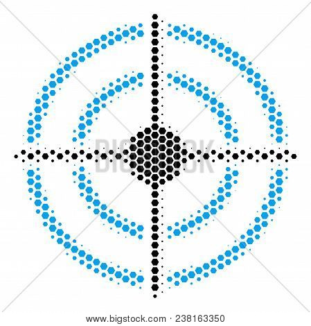 Halftone Hexagonal Target Bullseye Icon. Pictogram On A White Background. Vector Composition Of Targ