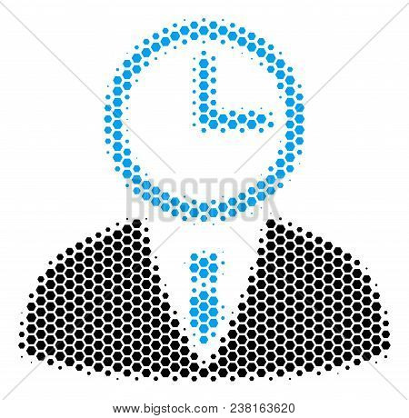 Halftone Hexagonal Time Manager Icon. Pictogram On A White Background. Vector Mosaic Of Time Manager