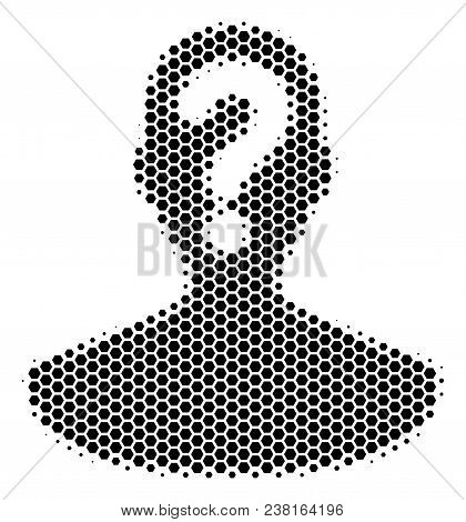 Halftone Hexagon Unknown Person Icon. Pictogram On A White Background. Vector Concept Of Unknown Per