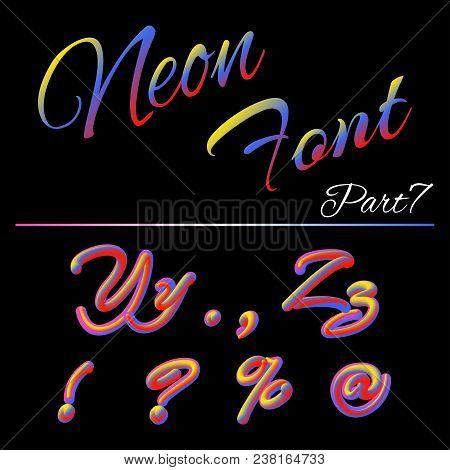 3d Neon Led Font. Liquid Matte Rounded Type. Tube Hand-drawn Lettering. Multicolor Ultraviolet Color