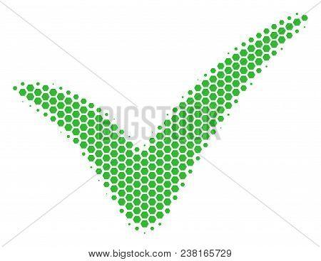 Halftone Hexagon Yes Icon. Pictogram On A White Background. Vector Concept Of Yes Icon Made Of Hexag