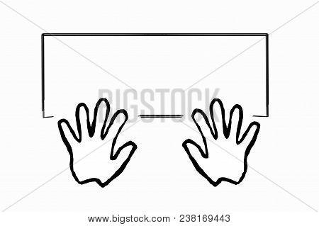 Hands On Computer Keyboard Flat Design. Silhouette Eps 10 Vector Drawings On A Blackboard. Copy Spac