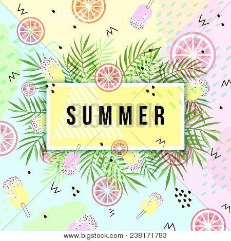 Summer Banner. Punchy Pastel. Trendy Texture. Season Vocation, Weekend, Holiday Logo. Summer Vector