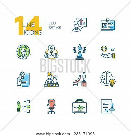 Ceo - Set Of Line Design Style Icons Isolated On White Background. High Quality Minimalistic Colorfu