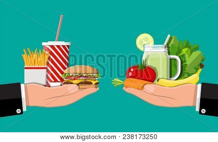 Hands With Fast Food And Organic Products. Diet, Nutrition, Fitness And Weight Loss Or Overweight An