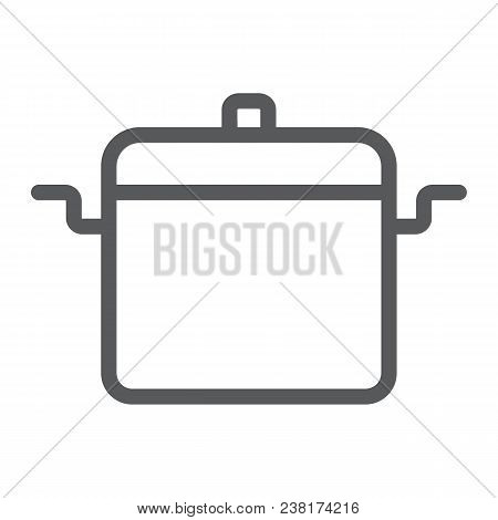 Cooking Pan Line Icon, Kitchen And Cooking, Cooking Pot Sign Vector Graphics, A Linear Pattern On A