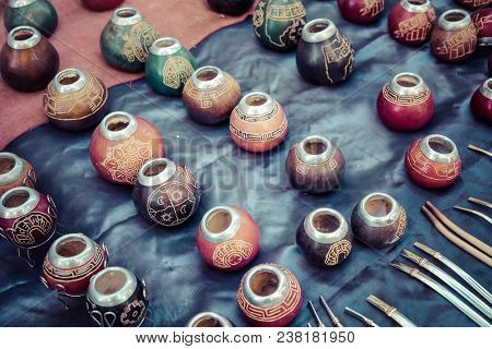 The Stall With A Lot Of Calabash Mate Cups (for Yerba Tea Drinking) During Regular San Telmo Sunday