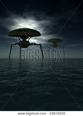 Alien Tripods In Ocean