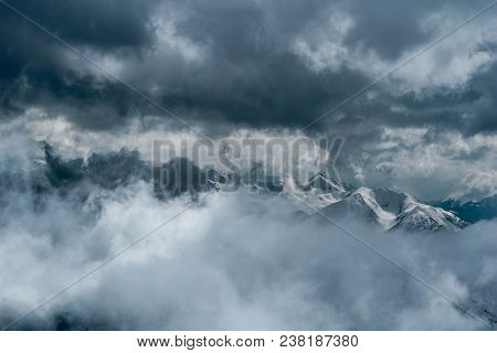 View To Beautiful Big Snowcovered Mountains. Close-up Of Amazing Snowcovered Mountains Surrounded By
