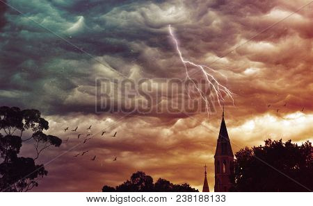 Atmospheric Grunge Textured Stormy Sky And Lightning Over A Church. Abbotsford Convent, Melbourne, V