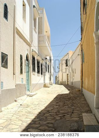 Deserted Street Of Mahdia In Yellow Tones. Tunisia