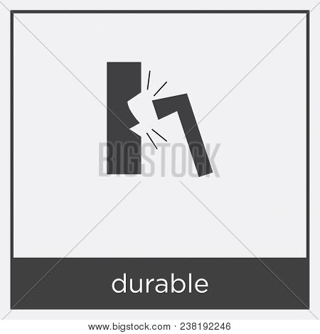 Durable Icon Isolated On White Background With Black Border
