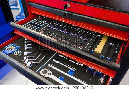 Tool Box With Many Wrenches And Tools
