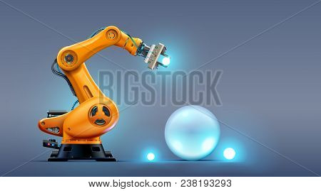 Robot Arm On The Factory. Automation Technology Of The Industry. 3d Hydraulic Manipulator On Manufac