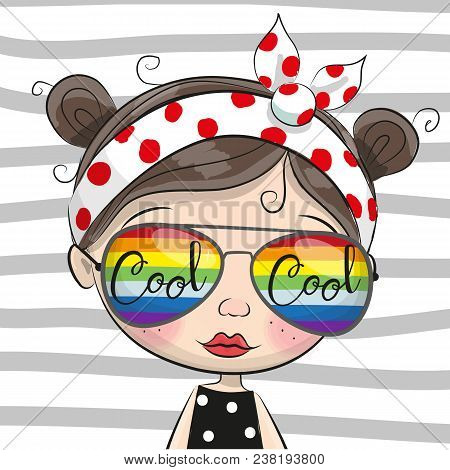 Portrait Of Cute Cartoon Girl With Sun Glasses On Striped Background