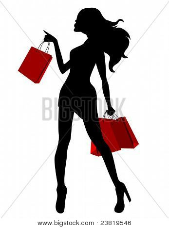 Black silhouette of young woman and red bags. Raster version.